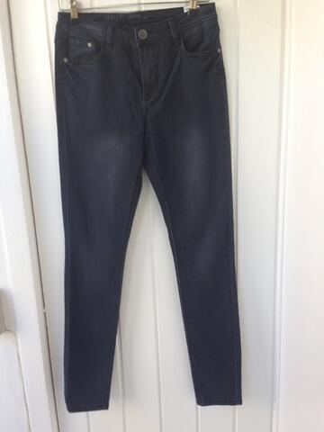 Jeggings i sort vasket denim